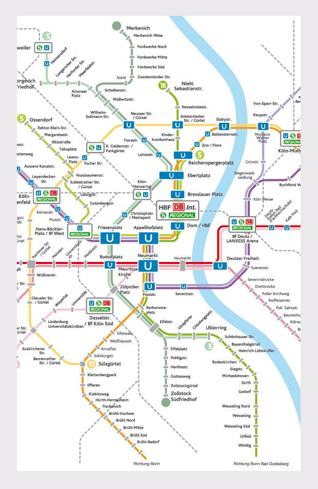 Corporate Design - Fahrplankarte - KVB Kölner Verkehrsbetriebe