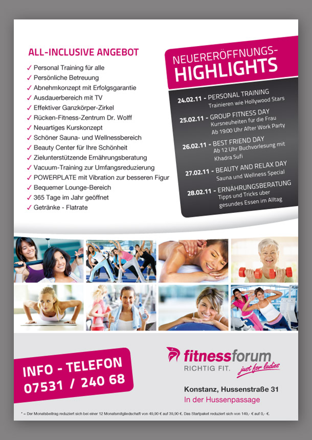 FitnessForm Konstanz DIN A4 Flyer