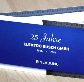 25 Jahre Elektro Busch - Firmenbroschüre und Einladung
